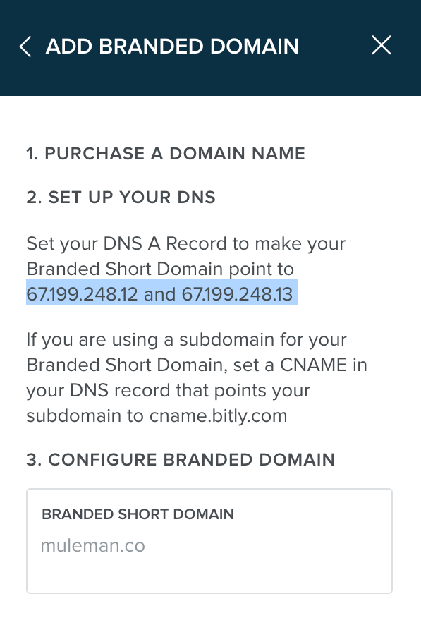 Bitly's custom short url IP Addresses