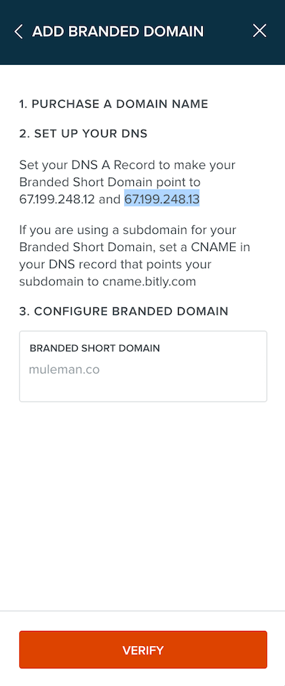 Verify your custom short url domain settings with bitly