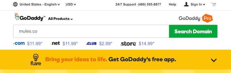 Using GoDaddy to purchase a custom short url to use