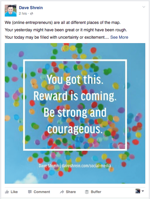 Facebook Image Screen Shot - You got this. Reward is coming. Be strong and courageous.