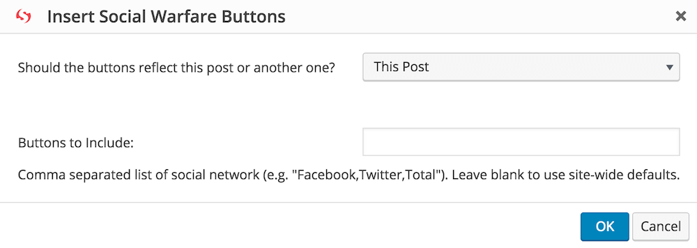 screen shot of the special configuration mode for the social warfare social share button